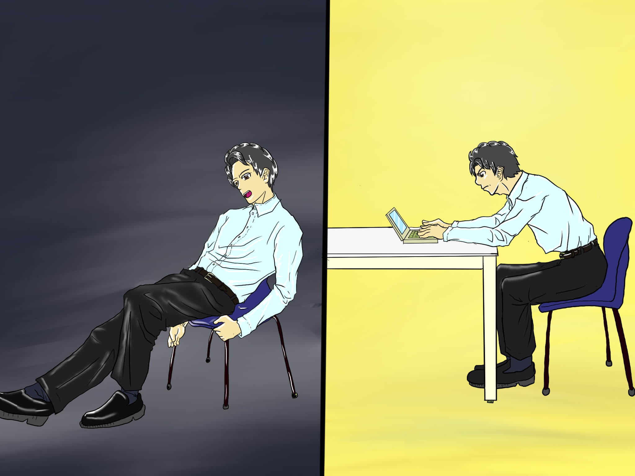 細マッチョはオフィスの呼吸も考える!歪んだら腹圧呼吸で姿勢を正そう!